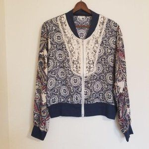COPY - Areve zip up paisley and lace bomber style…